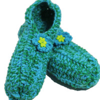 Comfy crochet SLIPPERS - womens slippers - large size slippers - blue and green slippers - travel slippers