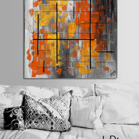 "Made to order. Original abstract painting. 24x24"" canvas art. Geometric with yellow, orange, gray. Yellow painting. Modern wall art. Square"