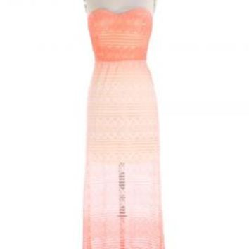 Sunset Moment Strapless Lace Ombre Maxi Dress in Coral | Sincerely Sweet Boutique
