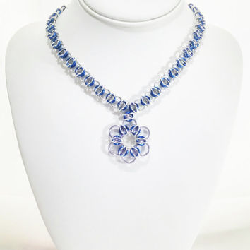 Chainmail Pendant Necklace Blue Pendant Blue Necklace Chainmail Necklace Chainmail Jewelry Gift For Her Chain Necklace Flower Fantasy