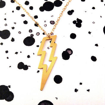 Lightning Bolt Necklace Thunder Strike Necklace Sterling Gold Silver Lightning Charm Big Pendant Minimalist Art Beep Studio Gift For Her