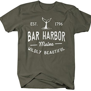 Shirts By Sarah Men's Bar Harbor Maine T-Shirt Whale Watching ME Shirts