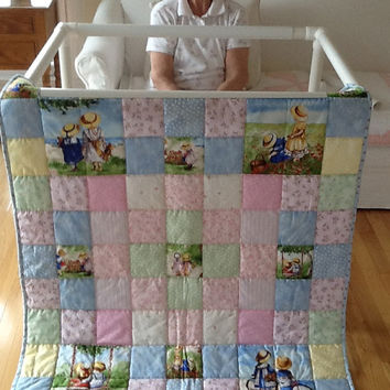 Childhood Memories By The Seaside, Beach, Children's  Hand-Quilted Handmade Lap Quilt, Throw 39 x 48 inches Free Shipping