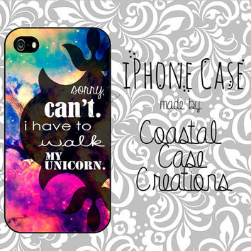 Galaxy Unicorn Quote Apple iPhone 4 and 5 Hard Plastic or Rubber Phone Case Cover Original Design