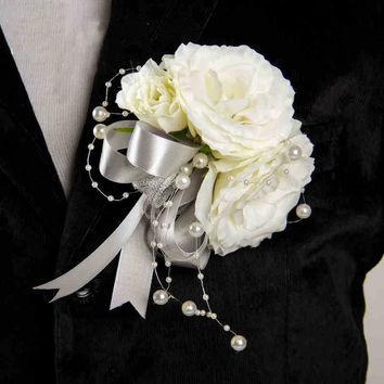DIY Groom Boutonniere men Corsage Sliver  White Pearls Silk Rose Flowers Wedding Home party decoration AQ14