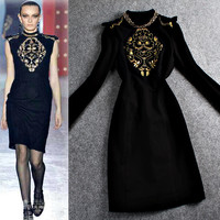 Black Embroidered Golden Beaded Dress