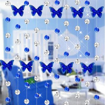 Crystal Glass Bead Curtain Luxury Living Room Bedroom Window Door Wedding Decor glass crystal curtain Butterfly design 2017 New
