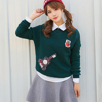 Cartoon Patchwork Long Sleeve Sweatshirt