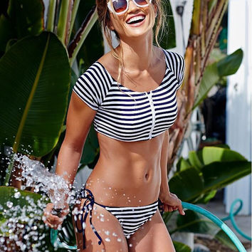 Navy Blue and White Striped Bikini