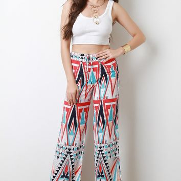 Geo Pattern High Waisted Palazzo Pants