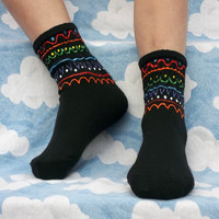 Colorful Hand Painted Black Socks for Bigger by smithfitsbazaare