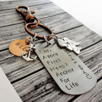 Fathers Copper And Stainless Steel Personalized KeyChain / Rustic Copper And Stainless Steel Dads Hand Stamped Key Chain