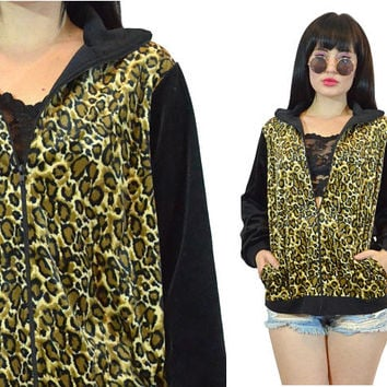 vintage 90s leopard print velour track jacket animal print black soft grunge small