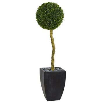 Artificial Silk Tree -4 Ft Boxwood Ball Topiary Tree In Black Wash Planters