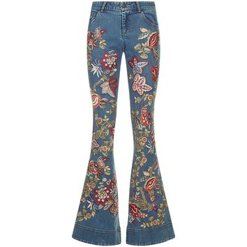 Alice + Olivia Ryley Embroidered Flared Jeans | Harrods.com