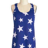 ModCloth Festival Mid-length Tank top (2 thick straps) Starry Knit Tank
