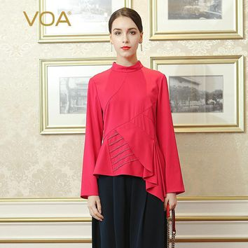 VOA 2018 Spring Summer New Vintage Red Office Lady Slim Tunic Ruffle T Shirt Solid High Quality Heavy Silk Women Tops BSX02101