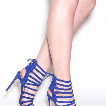 Set To Stun Lace-Up Faux Suede Heels