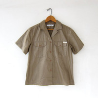 vintage minimalist button down t shirt. Esprit short sleeve top. safari pocket shirt.