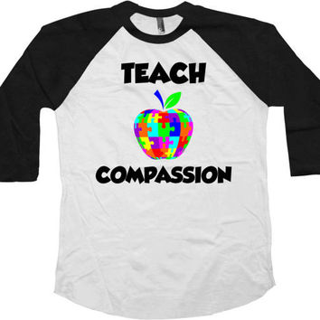 Autism Teacher Gifts Awareness T Shirt Autistic Support Teacher TShirt Autism Advocate Clothing Teach Compassion Baseball Raglan Tee - SA772