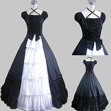 Short Sleeve Floor-length Black Satin Cotton Country Lolita Dress Alternative Measures - Brides & Bridesmaids - Wedding, Bridal, Prom, Formal Gown