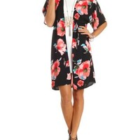 Floral Print Duster Kimono Top by Charlotte Russe - Red Combo