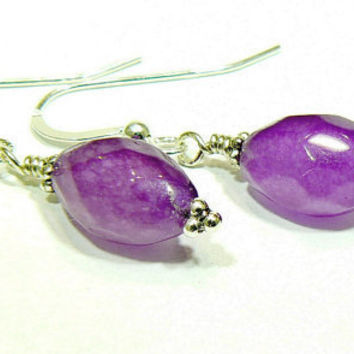 Purple Ruby Earings with Sterling Silver by 3cedarsjewelry on Etsy