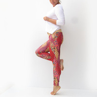 Women Leggings in Floral  Fusion Print , Hippie , Boho Pattern Leggings
