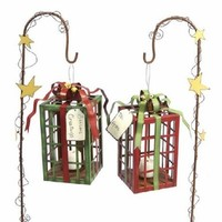 Present Gift Box Holiday Tealight Holder with Stake, Set of 2 - Candle Holders - Home Accessories - Home Decor