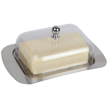 Realand Top Stainless Steel Butter Dish Box Container Cheese Server Storage Keeper Tray with See-through Acrylic Easy Lid