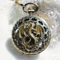 Dragon pocket watch, men's mechanical pocket watch with bronze dragon on front cover of watch