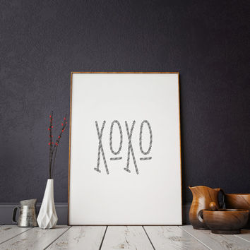 Fashion Print Xoxo Gold,Xoxo Print,Love Sign,Love Quote,GOSSIP GIRL,OXO,Gift For Her,Girly Print,Girls Room Decor,Girls Bedroom Decor