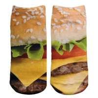Yellow Burger Knit Ankle Socks