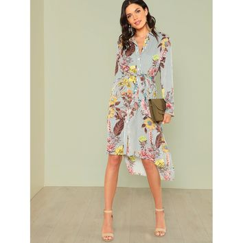 Multicolor Slit Side Mixed Print Dip Hem Shirt Dress