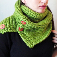 Apple green scarf, chunky knit scarf green chunky cowl scarf chunky knitted scarf soft chunky scarf oversized scarf in green oversized cowl