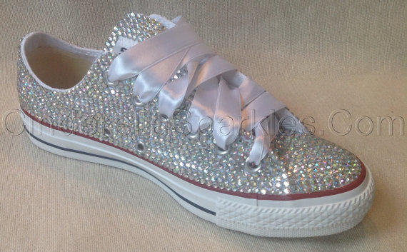 Diamante Crystal Covered Converse Wedding from CinderellaSparkles efa31aaad