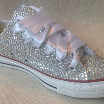 Diamante Crystal Covered Converse Wedding Prom Shoes Trainers Custom Made 14c27b87a