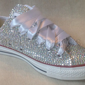 Diamante Crystal Covered Converse Wedding Prom Shoes Trainers Custom Made b265d67093