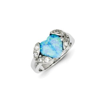 Sterling Silver Simulated Opal & CZ Ring