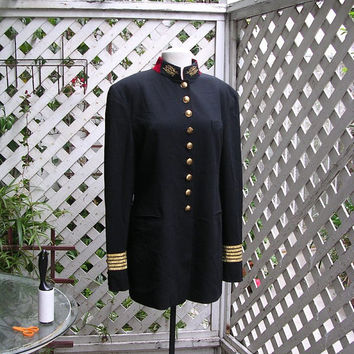 Vintage DKNY Donna Karan Black Military or Band Jacket by jaysjuju