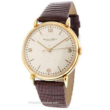 Vintage Pre-Owned Circa 1946 IWC Mens Watch - 18K Yellow Gold - Leather Strap