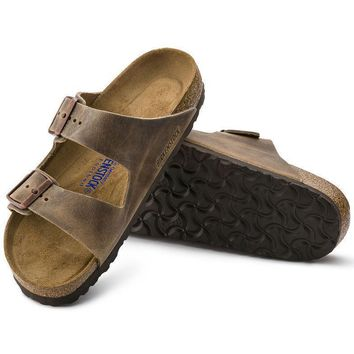 Sale Birkenstock Arizona Soft Footbed Oiled Leather Tobacco Brown 0552811/0552813 Sand