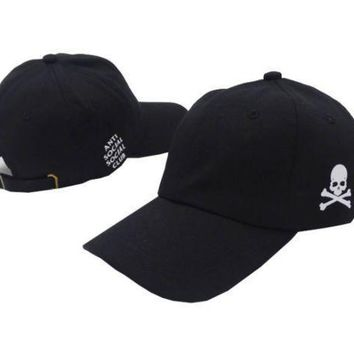 Black Anti Social Club Skull Embroidered Outdoor Baseball Cap Hats