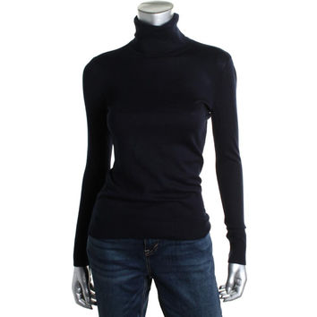 Lauren Ralph Lauren Womens Modal Blend Ribbed Tirm Turtleneck Sweater