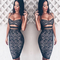 Women Style Sexy Cut Out Hollow Backless Elegant Lace Sleeveless Strap Knee Length Pencil Dress IWY66
