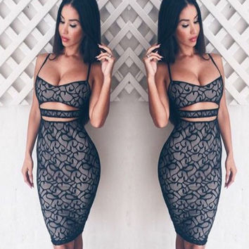 Hot Sale Spaghetti Strap Lace Dress [11499054863]