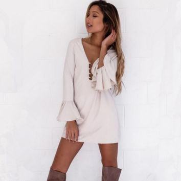 White Flounced Long Sleeve Lace Up V-Neck Shift Dress
