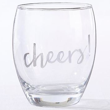 Silver Cheers 12 oz. Stemless Wine Glass (Set of 4)