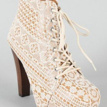 Qupid Puffin-39 Lace Platform Bootie