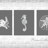 Beach Theme Artwork Prints / 8x10 inch / set of 3 / gray and white / nautical , ocean theme / home decor wall art